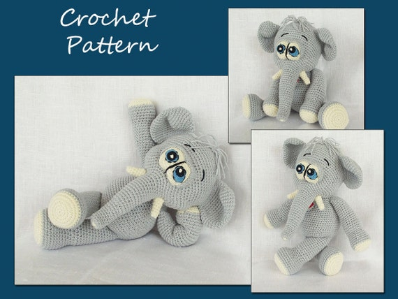 Amigurumi Pattern, Animal Crochet Pattern, Amigurumi Elephant Pattern, CP-131