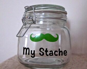 My Stache Jar- Money Jar- Airtight Mustache Jar