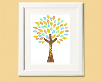 Orange, Blue, green and yellow tree nursery wall art, Nursery Art Print, 8x10,Kids Room Decor, Baby / Children Wall Art