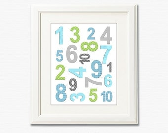 Aqua, green, grey numbers nursery wall art, Nursery Art Print, 8x10,Kids Room Decor, Baby / Children Wall Art, playroom, blue