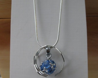 CZ Ball Necklace - Teal 2