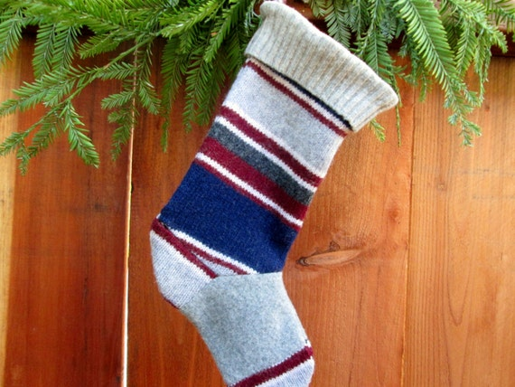 Ready to ship! Striped Christmas stocking recycled felted sweater wool. Eco friendly holiday stocking