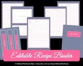 Recipe Binder Printables EDITABLE Recipe Sheet Recipe Card Recipes to Try Template PDF Editable Binder Cover Spine Favorite Recipes Preppy