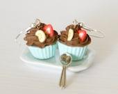Cute earrings chocolate cupcake  kawaii Polymer clay miniature food jewelry
