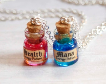 Mana and Health BFF necklaces, potion in a bottle miniature, geekery miniature jewelry