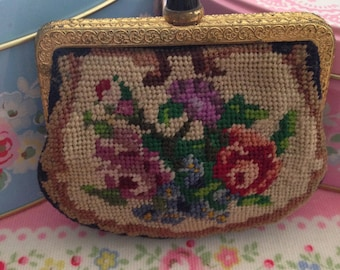 Petit Point Needlepoint floral Wallet coins  Purse
