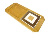 Vintage Oak Cheese Board with Graphic Ceramic Tile