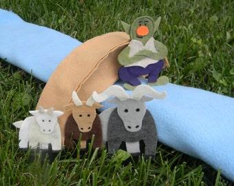 3 Billy Goats Gruff Finger Puppet Play Set