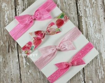 4 No Tug Elastic Hair Ties - Vintage floral- Candy Pink- Glitter Hairties