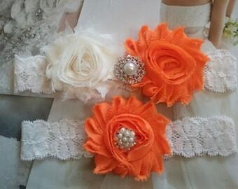 Wedding Garter Set - Ivory /Orange Flowers on a Stretch Ivory Lace with Pearls & Rhinestones -  Style G2071
