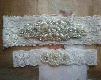 Wedding Garter Set - Pearl and Rhinestone Garter Set on a Ivory Lace Garter Set  - Style G20099