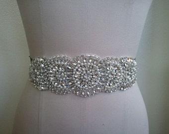 Wedding Belt, Bridal Belt, Sash Belt, Crystal Rhinestone & Off White Pearls - Style B300112