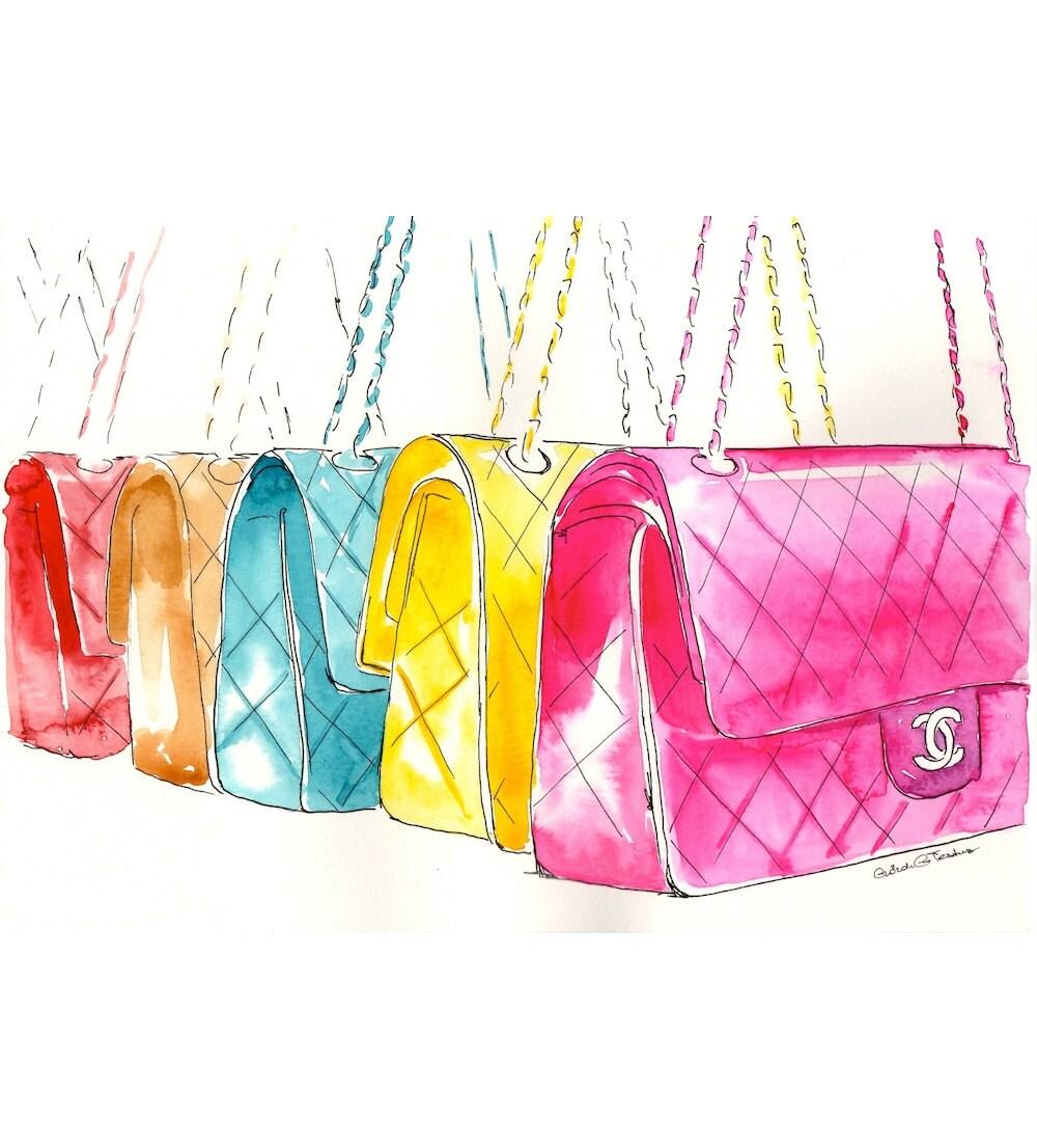 Chanel Handbag Illustration Colorful Chanel Flap Handbags