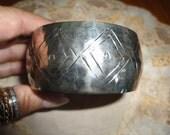Vintage Sterling Silver Bangle Bracelet Tribal Design Hammered Silver Made In India