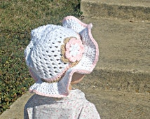Crocheted White, Pink, and Tan Baby/Girls' Easter Hat, Sun Hat