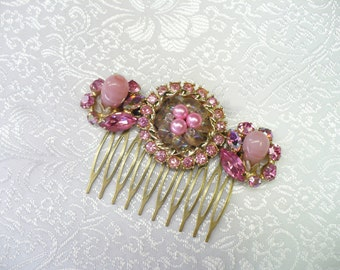Vintage Bridal Hair Comb - Bronze comb - pink RHINESTONES - vintage WEDDING - faux PEARLS - vintage bridesmaid - bridal hair piece
