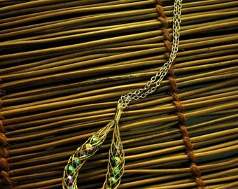 Gold Tone Wire Net Necklace