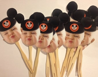 Mickey Mouse hat inspired cupcake toppers. Set of 12