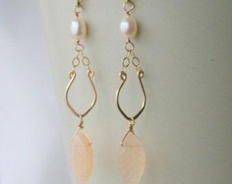 Moonstone Freshwater Pearl Earrings 14K Gold filled