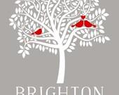 Custom Family Tree Art, Personalized Mother Artwork, Birds Representing Family - Custom Art Print, Housewarming, Family, Gift for Mom