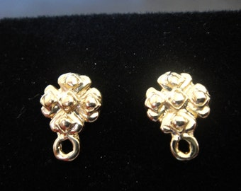 2 pc. Vermeil, 18k gold over 925 sterling silver flower post earrings,earring posts,vermeil post earrings, gold flower post earrings