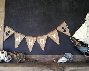 AHOY Anchor Banner Burlap Nautical Triangle Pennant Bunting Beach Party Summer Sign