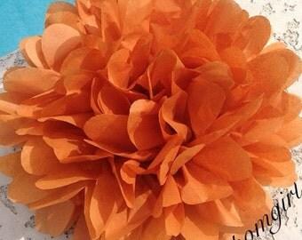 BURNT ORANGE / 1 tissue paper pom pom / baby shower, wedding, birthday, bridal shower, nursery decor, anniversary, photo prop, DIY