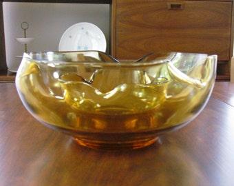 Vintage Anchor Hocking Chip & Dip Bowl set of 2 in Amber