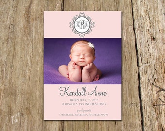Kendall Vintage Monogram Birth Announcement - customize with your baby's monogram and photo - DIY Photo card