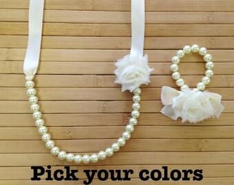 Custom pearl, ribbon and shabby chic flower necklace and bracelet set, flower girl gift set, bridesmaid gift set, birthday gift,