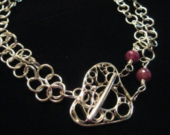 Sterling Silver and Ruby Double Chain Necklace with Focal Toggle