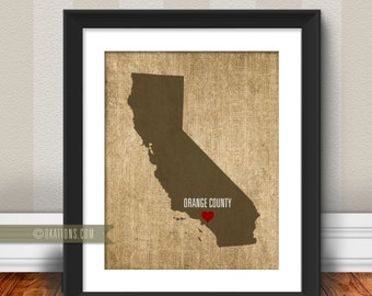 Orange County California Love  Wall Art - burlap - I love city state Instant Download - Digital File - Printable - Downloadable