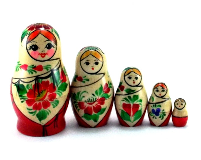 Nesting Dolls 5 pcs Russian matryoshka Babushka doll for kids set Wooden stacking authentic genuine toys Birthday gift for mom Sudarushka