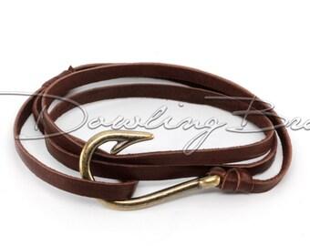 Chocolate Brown Genuine Leather Bronze Fish Hook Bracelet