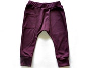Baby Clothes - Baby Boy Clothes, Baby Harem Pants, Baby Clothes, Baby Boy Pants, Baby Pants,Boys Harem Pants- Aubergine, Free Ship