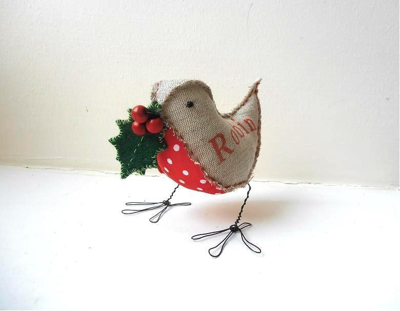 Robin bird soft sculpture handmade christmas ornament gift