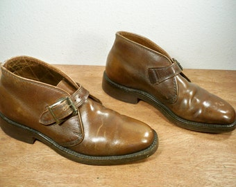Vintage Filene's Made in USA Brown Leather Motorcycle Biker Men's Harness / Buckle Riding Engineer Non-Steel Toe Boots Size 8
