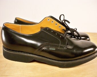 NOS Vintage Union Made in USA Black Leather Oxford Soft Toe Deck Delivery Mail Deck Men's Shoes Size 10.5