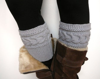 Light grey knit boot cuffs, leg warmers, boot toppers, boot socks