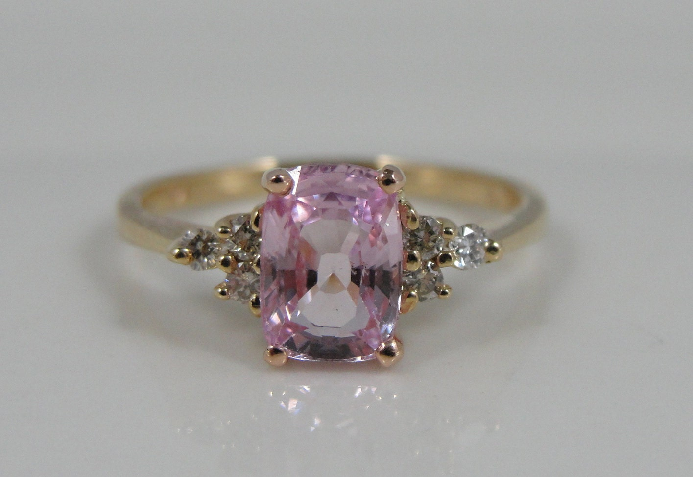 Vintage Pink Sapphire and Diamond Ring Engagement or