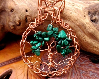 wire wrapped Tree of Life pendant. copper and green malachite. wire wrapped jewelry handmade
