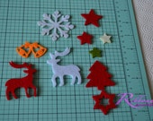 christmas felt decoration.20 pc    high quality felt laser cut tree, star  DIY projects , tags