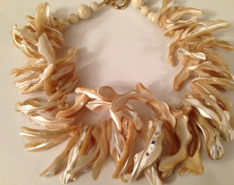 Spectacular Chunky Organic Design CINER Shell Style and Bead Dramatic Runway Necklace Signed