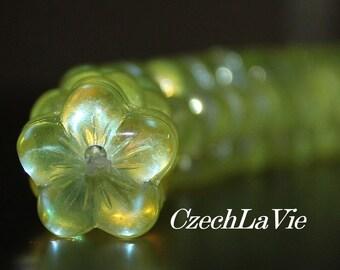 Czech Glass Flower Beads 16mm - Yellow flowers (016)