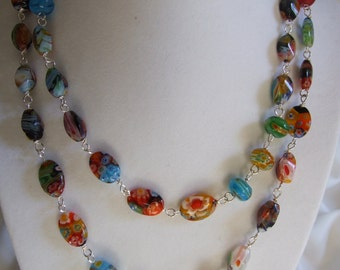 Wire wrapped Millefiori beads 0320NK