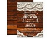 Rustic Wood & Lace Bridal Shower Invitations - Printed Bridal Shower Invitations - Printable Bridal Shower Invitations