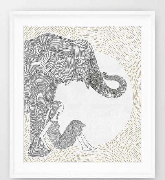 Line Art Etsy : Friendship girl and elephant line art print of orginal