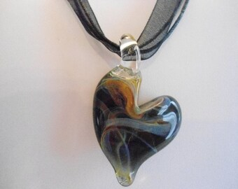 Black multicolor heart lampwork organza necklace with nickel and lead free metal extender