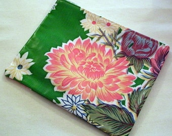 "Zipper Bag Wallet Makeup Bag Green/Multi Floral Mexican Oilcloth 7 1/2"" x 6"" Retro Tropical"