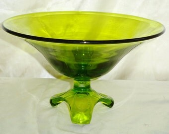 Vintage Viking Glass EPIC Tall Footed Pedestal Bowl Compote - 9x5inch